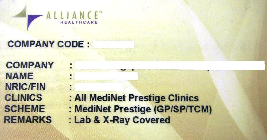 Sample of Alliance Medinet Card