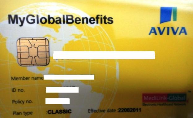 Sample of Aviva MyGlobal Benefits Card