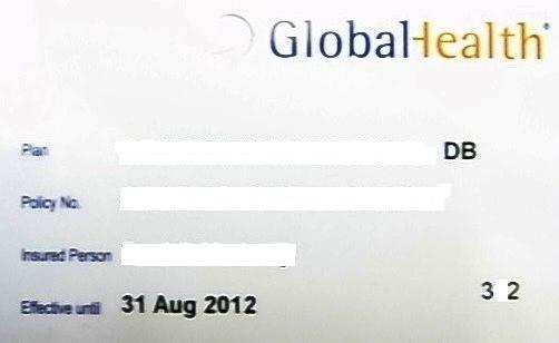 Sample of Global Health Asia Card