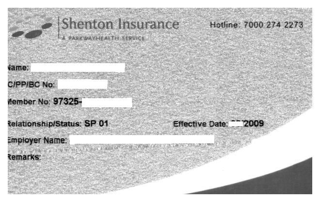 Sample of Shenton Insurance Card